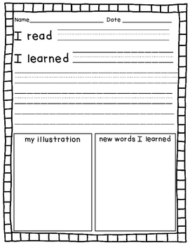 Emergent Reader Book Reflection Activity Pages