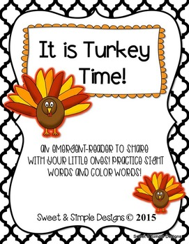 Emergent-Reader Book for Thanksgiving and Fall to practice sight and color words