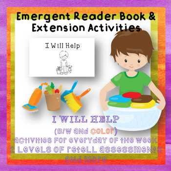 Emergent Reader Chores Book I Will Help Weekly Unit Activities Special Ed