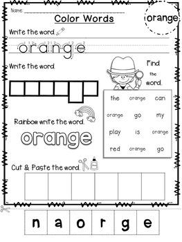 Free Emergent Reader: Color Word (Orange)