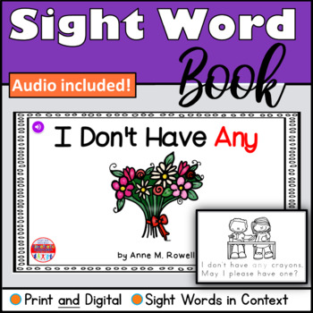 Sight Word Book Emergent Reader - ANY