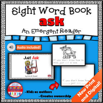 Sight Word Book Emergent Reader - ASK
