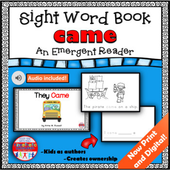 Sight Word Book Emergent Reader - CAME