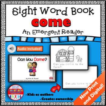 Sight Word Book Emergent Reader - COME