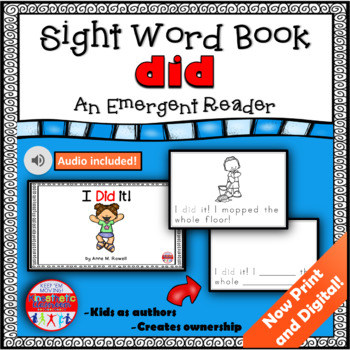 Sight Word Book Emergent Reader - DID