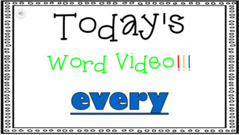 Sight Word Book Emergent Reader - EVERY
