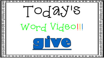 Sight Word Book Emergent Reader - GIVE