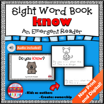 Sight Word Book Emergent Reader - KNOW