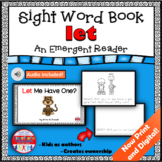 Sight Word Book Emergent Reader for the Word LET Print and Digital with Audio