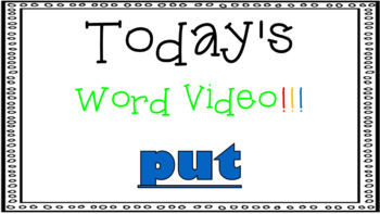 Sight Word Book Emergent Reader - PUT
