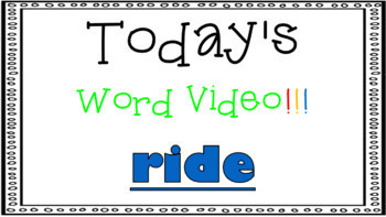 Sight Word Book Emergent Reader - RIDE