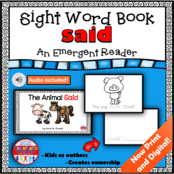Sight Word Book Emergent Reader - SAID