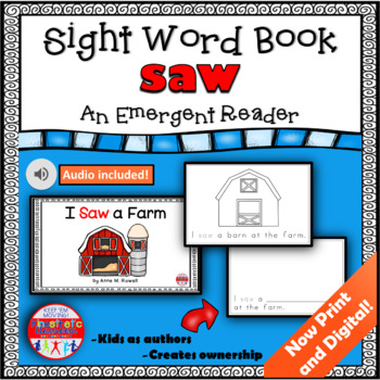 Sight Word Book Emergent Reader - SAW