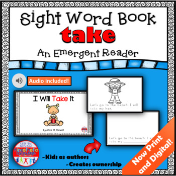 Sight Word Book Emergent Reader - TAKE
