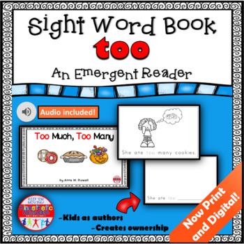 Sight Word Book Emergent Reader - TOO