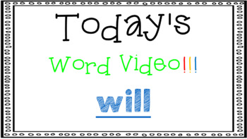 Sight Word Book Emergent Reader - WILL