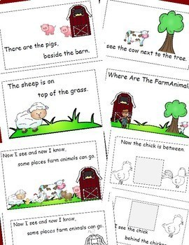 Farm Animals   Emergent Reader Cut and Paste Positional Words Activities Reader