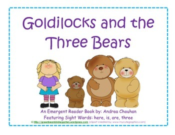 "Emergent Reader ""Goldilocks and the Three Bears"" book by GBK"