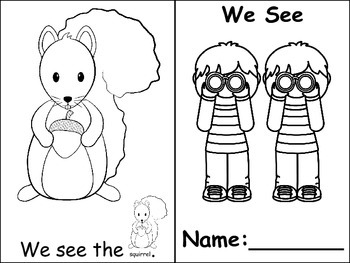 "Emergent Reader ""I see ___"" ""We see ___."" ""I see the"" ""We see the__."""