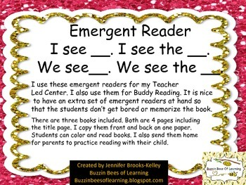 "Emergent Reader ""I see ___"" ""We see ___."" ""I see the"" ""We"