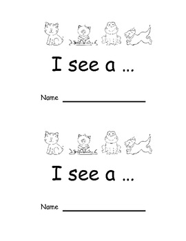 Animal Emergent Reader I see a (animal name) (black & white pictures)