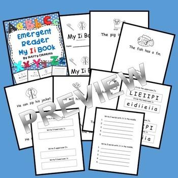 Letter Ii Emergent Reader (medial vowel sound) (variety of sight words)