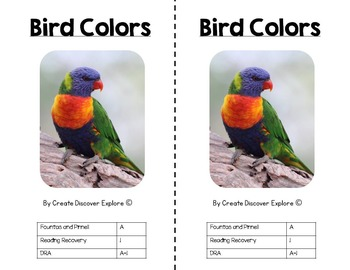 Emergent Reader Nonfiction Level A - Bird Colors with Worksheets