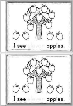 Numbers 11 - 20, Emergent Reader Counting Apples!