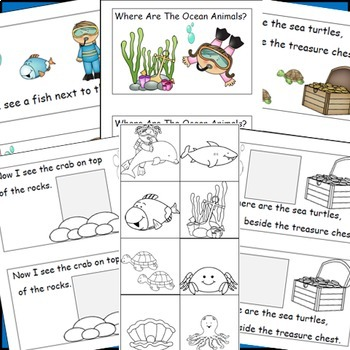 Ocean Animals, Emergent Reader, Cut and Paste, Positional Words Activity Reader