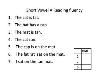 Emergent Reader Practice (short a) #1
