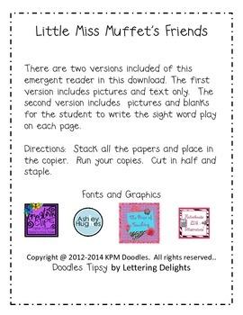 Little Miss Muffet Emergent Reader {Sight Word:  Play}
