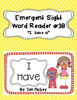 "Emergent Reader Sight Word Book ""I have a (color word)"""