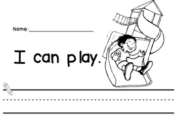 Emergent Reader Sight Word Booklet - What I Can Do In Kinder