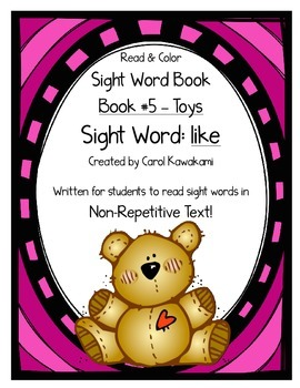 """Sight Word Book for the Sight Word """"like""""; Sight Word Book #5"""