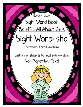"""Sight Word Book for the Sight Word """"she""""; Sight Word Book #15"""