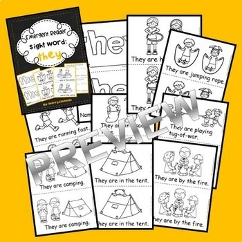 Emergent Reader Sight Words BUNDLE (as, with, his, they, I)