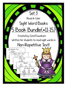 Sight Word Books: Set 3-you, are, go, has, she; Sight Word Books #11-15Bundle