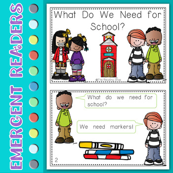 What Do We Need for School? - Emergent Reader - Back to School