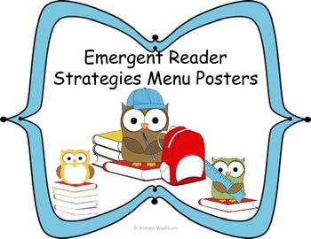 Emergent Reader Strategies Menu Posters