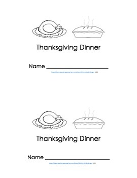 Emergent Reader - Thanksgiving Dinner