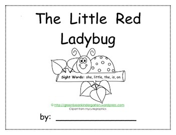 """Emergent Reader """"The Little Red Ladybug"""" printable book by GBK"""