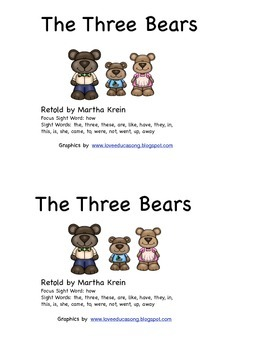 Emergent Reader: The Three Bears