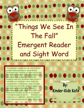 """Emergent Reader """"Things We Can See In The Fall"""""""