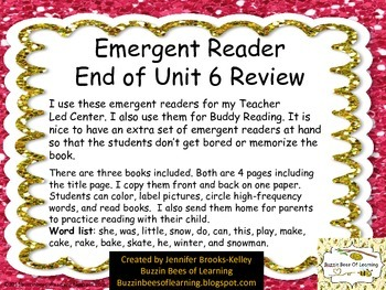 Emergent Reader Unit 6 Review with labeling practice.