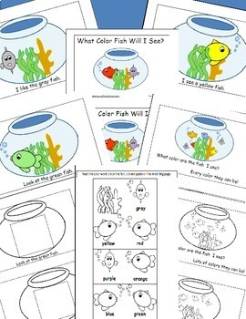 Fish Colors Emergent Reader, Cut and Paste Colors Activities Reader