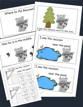 Raccoon Emergent Reader, Positional Words, Cut and Paste Activities Reader