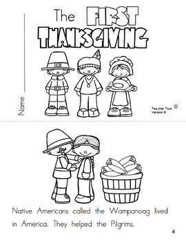 Emergent Reader for Thanksgiving: The First Thanksgiving