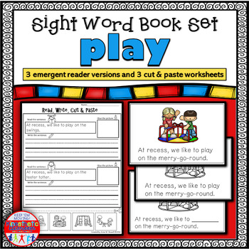 Sight Word Book Emergent Reader and Worksheets for PLAY