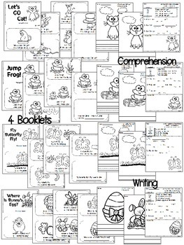 Emergent Readers {4 sets of readers with writing and a comprehension page}