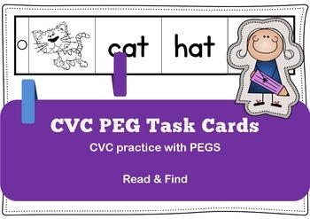 FREEBIE Emergent Readers CVC peg cards / task cards